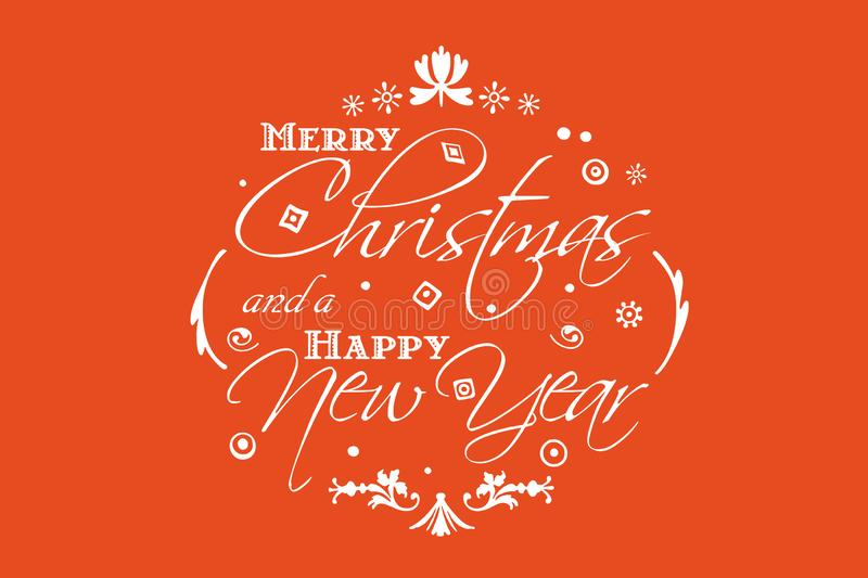 Merry Christmas and Happy New Year card design with fiery orange background royalty free illustration