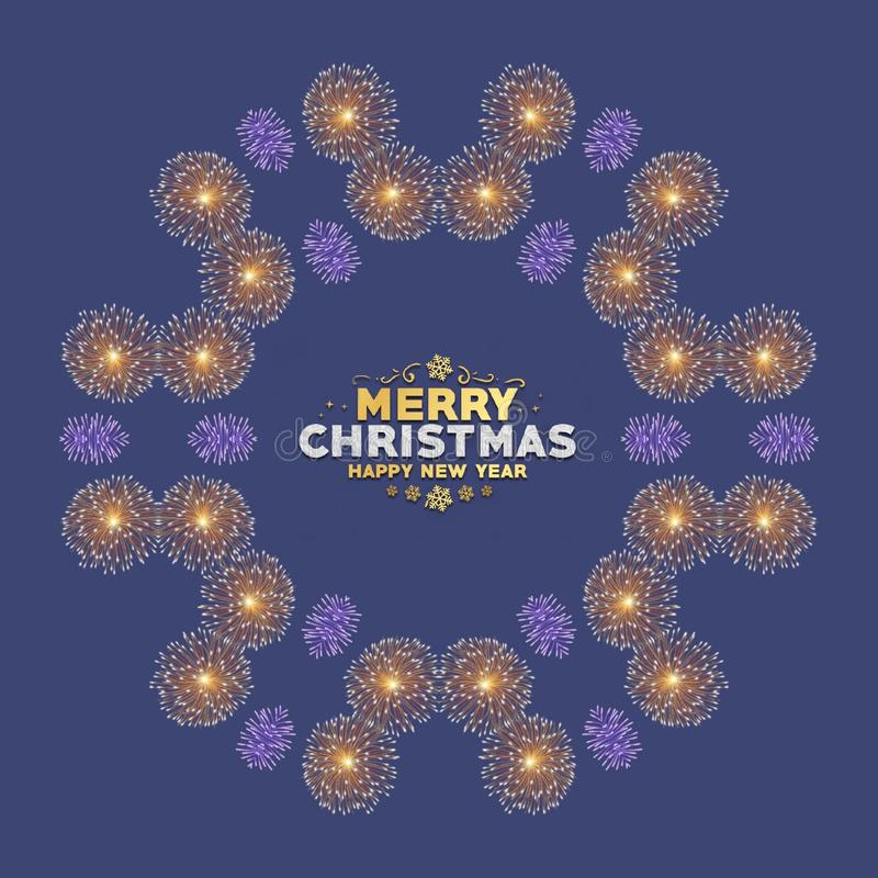 Merry Christmas and happy new year card with fireworks in blue background royalty free illustration