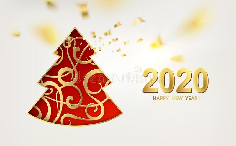 Merry Christmas and Happy New Year 2020 card with golden steampunk fir over red background. royalty free illustration
