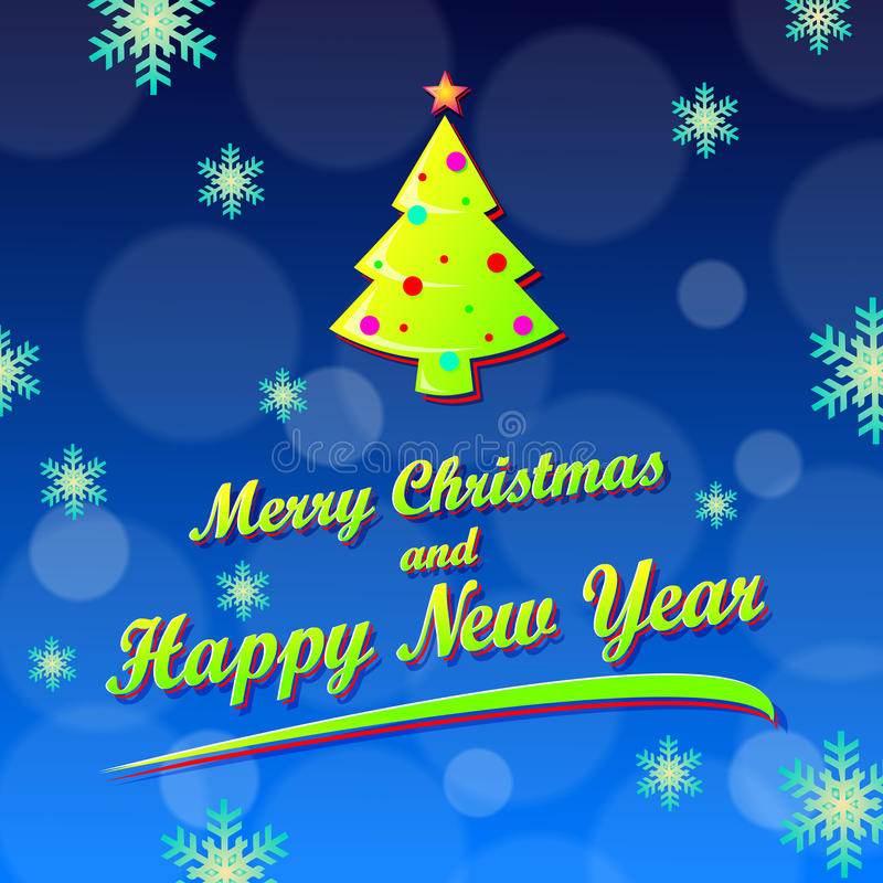 Merry Christmas and Happy New year card stock illustration