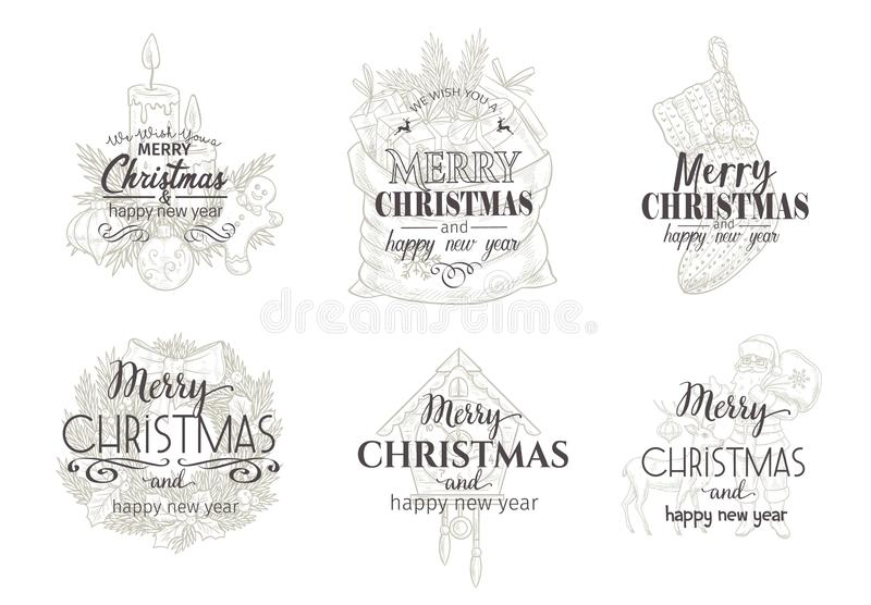 Merry christmas and happy new year cards royalty free illustration