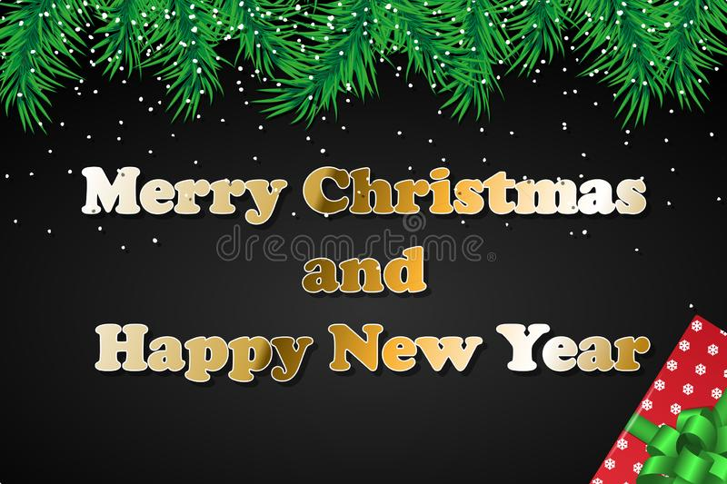 Merry Christmas and Happy New Year Celebrate design. Concept template for holiday. Vector background, greeting card, poster or. Merry Christmas and Happy New stock photography