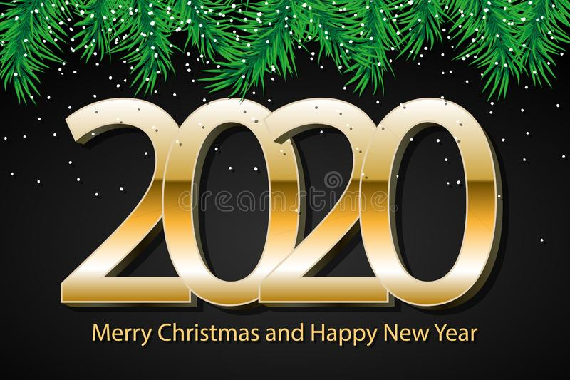 2020 Merry Christmas and Happy New Year. Celebrate design. Concept template for holiday. Vector background, greeting card, poster royalty free stock photos