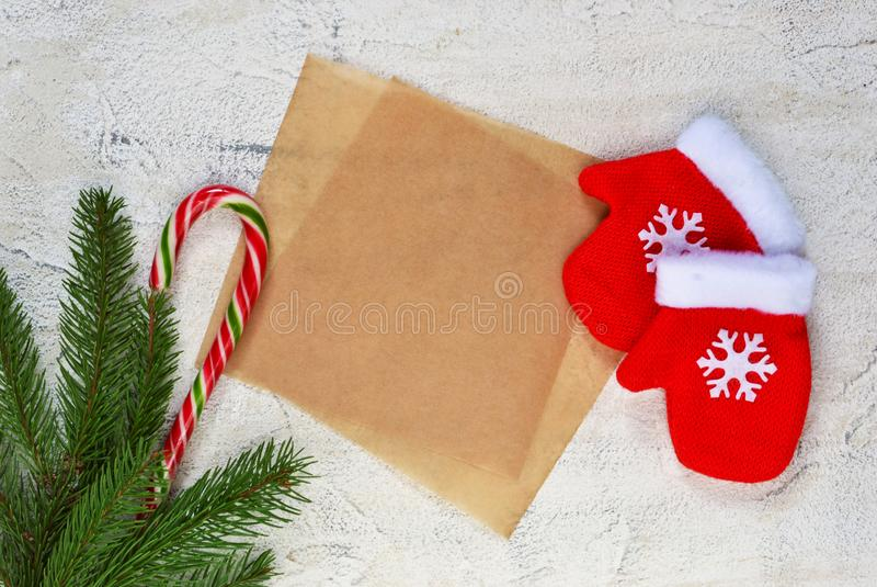 Merry Christmas and Happy New Year! Christmas card with warm win stock image