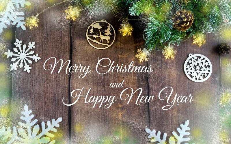 Merry Christmas and happy New year. Christmas decoration design on wooden background with candy bowl.the composition of Christmas. Merry Christmas and happy New stock image