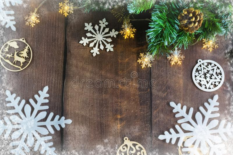 Merry Christmas and happy New year. Christmas decoration design on wooden background with candy bowl.the composition of Christmas. Merry Christmas and happy royalty free stock photos