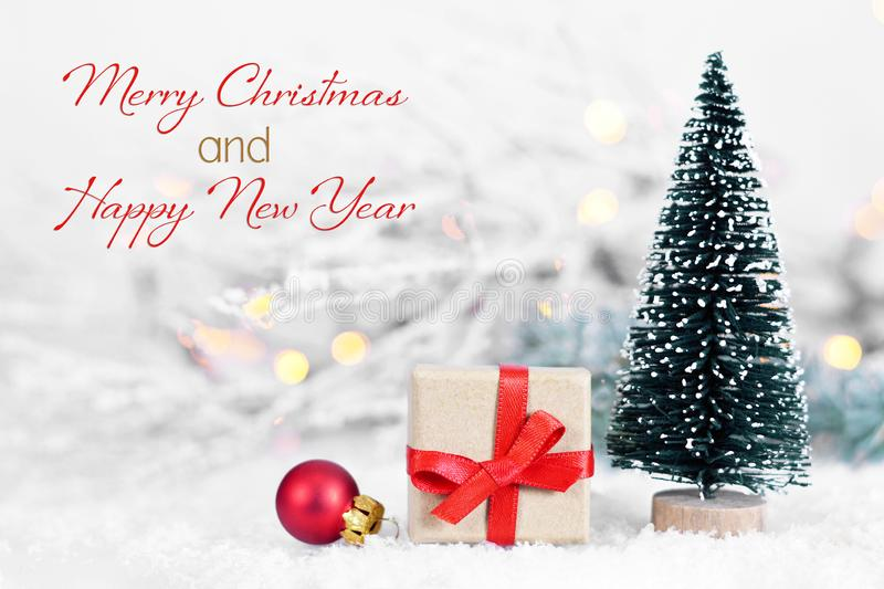 Merry Christmas and Happy New Year. Christmas gift and Christmas decoration royalty free stock photos