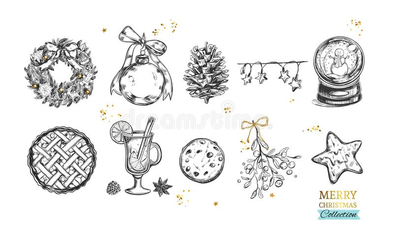 Merry Christmas and Happy New Year collection with hand drawn illustrations . Vector. Isolated objects royalty free illustration