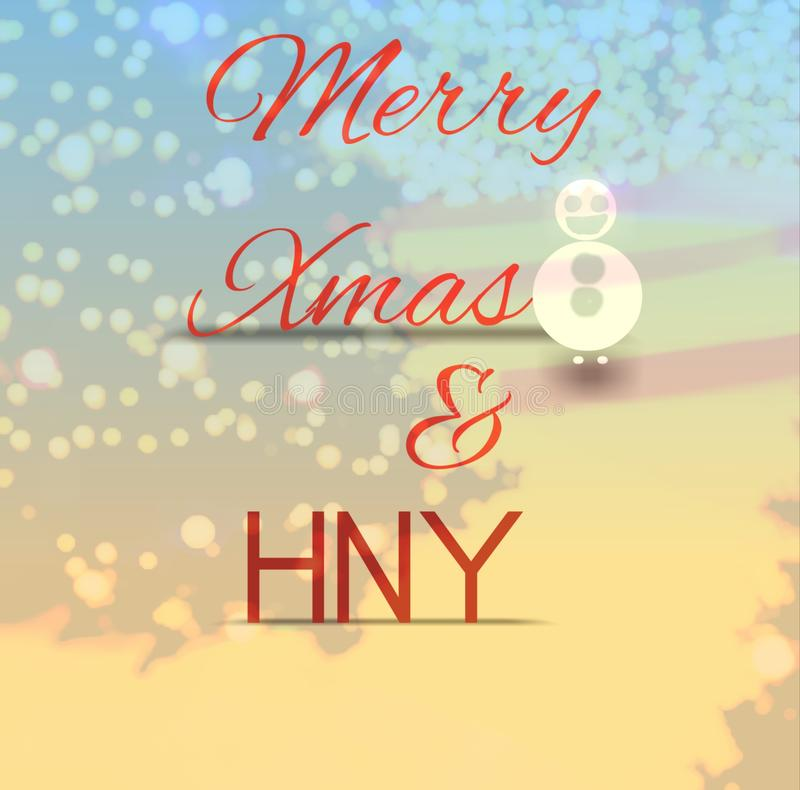 Merry Christmas and Happy New Year colorful fonts-calligraphy artwork with stroke, shadow on bubbles or snow and stars vibe. royalty free illustration