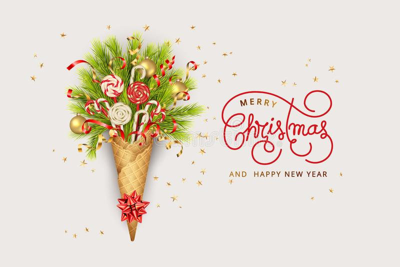 Festive Christmas Background. Merry Christmas and Happy New Year composition in a waffle cone of coniferous branches. Christmas holiday bouquet of pine branches stock illustration
