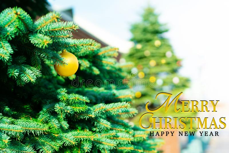 Merry Christmas and Happy New Year concept stock photo