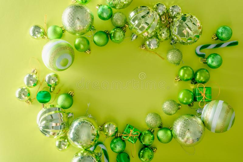 Merry christmas and happy new year concept with Celebration ball. S green color other decoration stock image