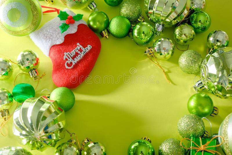 Merry christmas and happy new year concept with Celebration ball. S green color other decoration royalty free stock images