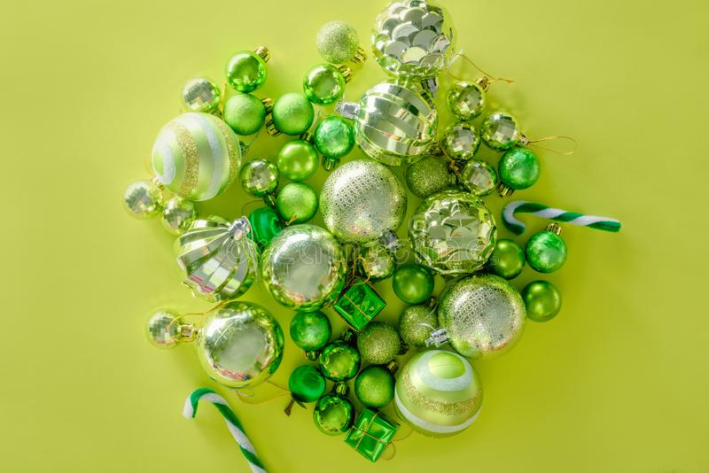Merry christmas and happy new year concept with Celebration ball. S green color other decoration stock photos