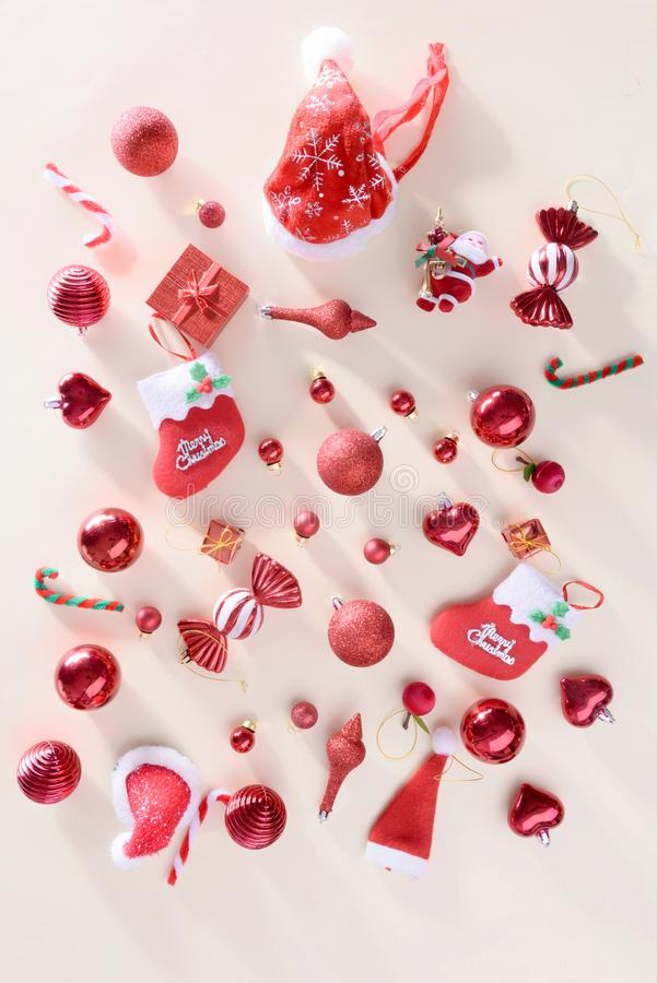 Merry christmas and happy new year concept with Celebration ball. S red color other decoration royalty free stock photography