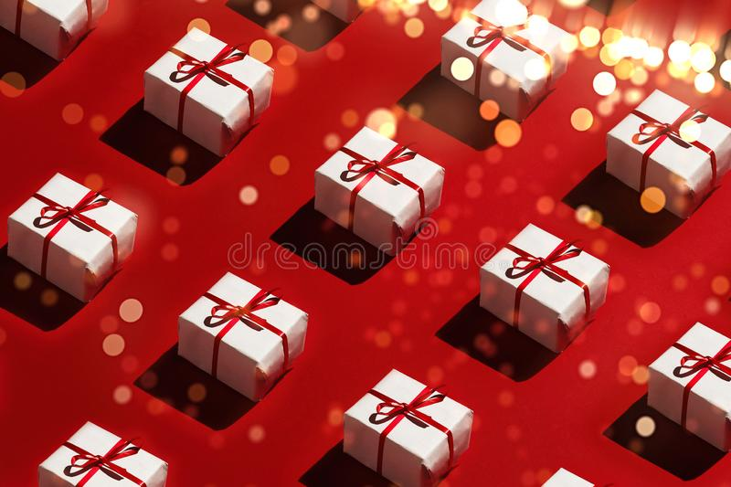 Merry Christmas and Happy new year 2019 Concept. Design Gift boxes on red background sparklers stock photography