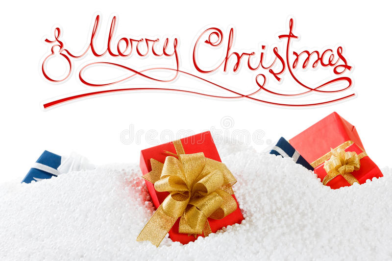 Merry christmas or happy new year concept with gift boxes on the snow. Isolated white. Merry christmas and happy new year concept with gift boxes on the snow stock photography