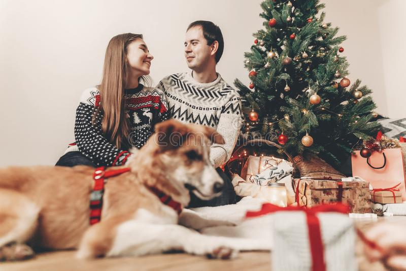 Merry christmas and happy new year concept. happy family in stylish sweaters and cute dog at christmas tree with lights and gifts. Atmospheric festive moments stock photography
