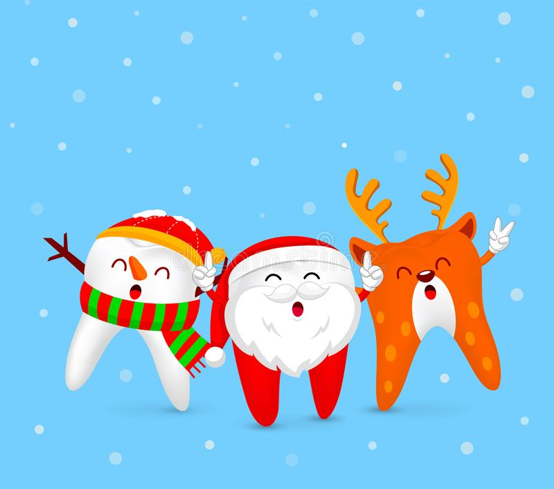 Christmas Tooth Characters design, Santa Claus, Snowman and Reindeer. royalty free illustration