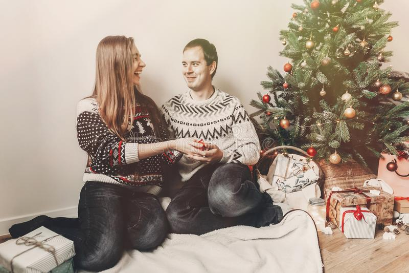 Merry christmas and happy new year concept. stylish hipster coup royalty free stock image