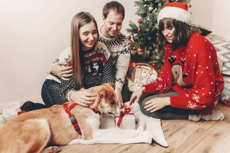 Merry christmas and happy new year concept. stylish hipster family in festive sweaters with a dog and gift at christmas tree. Lights. happy holidays. seasonal stock photography