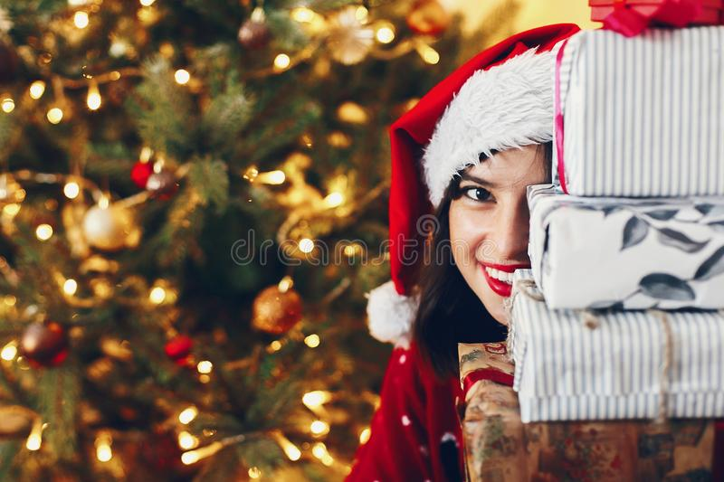 Merry christmas and happy new year concept. happy stylish woman stock images