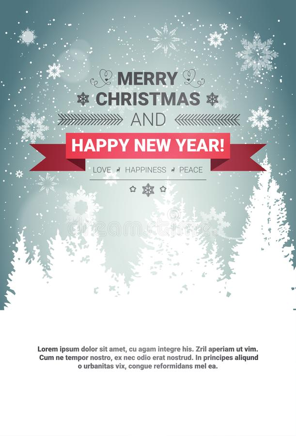 Merry Christmas And Happy New Year Concept Winter Holidays Greeting Card Over Transparent Forest Background. Flat Vector Illustration stock illustration
