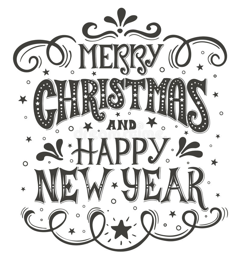 Merry Christmas and Happy New Year. Conceptual handwritten phrase T shirt calligraphic design, greeting card, poster or vector illustration