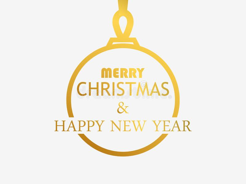 Merry Christmas and Happy New Year. Contour of the Christmas ball with a golden gradient on a white background. Vector royalty free illustration