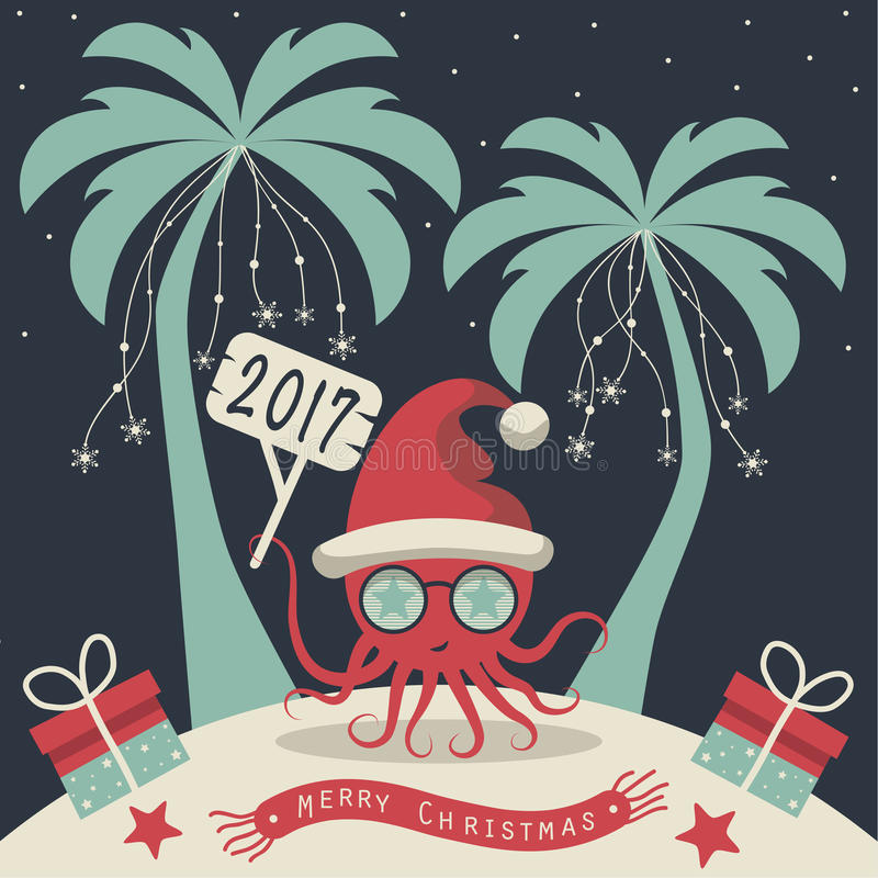 Merry Christmas and Happy New Year. The cover design. Christmas on the island. Depicts two palm trees, a octopus in Santa Claus hat, garlands of snowflakes royalty free illustration