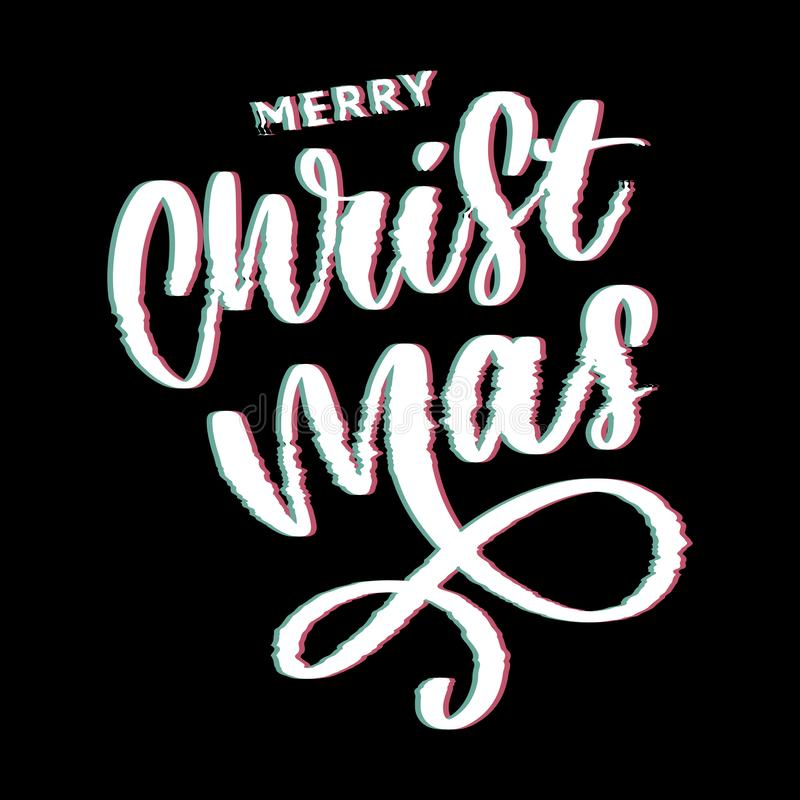 merry christmas and happy new year 2019, creative greeting card or label with glitch theme on black background vector design vector illustration