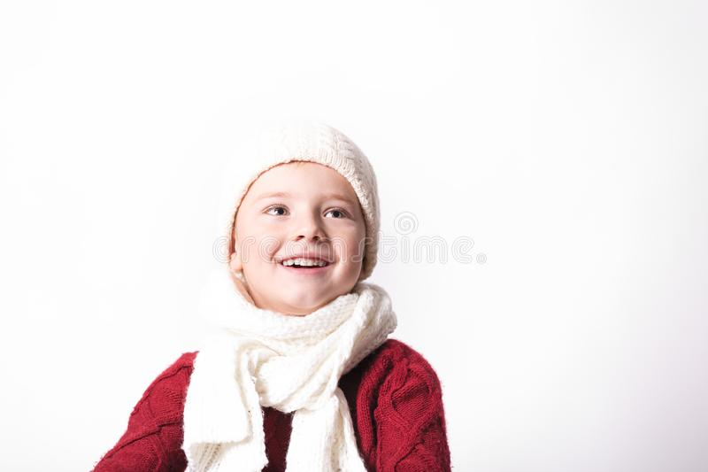 Merry Christmas and happy New year! Cute happy little child boy. stock photos