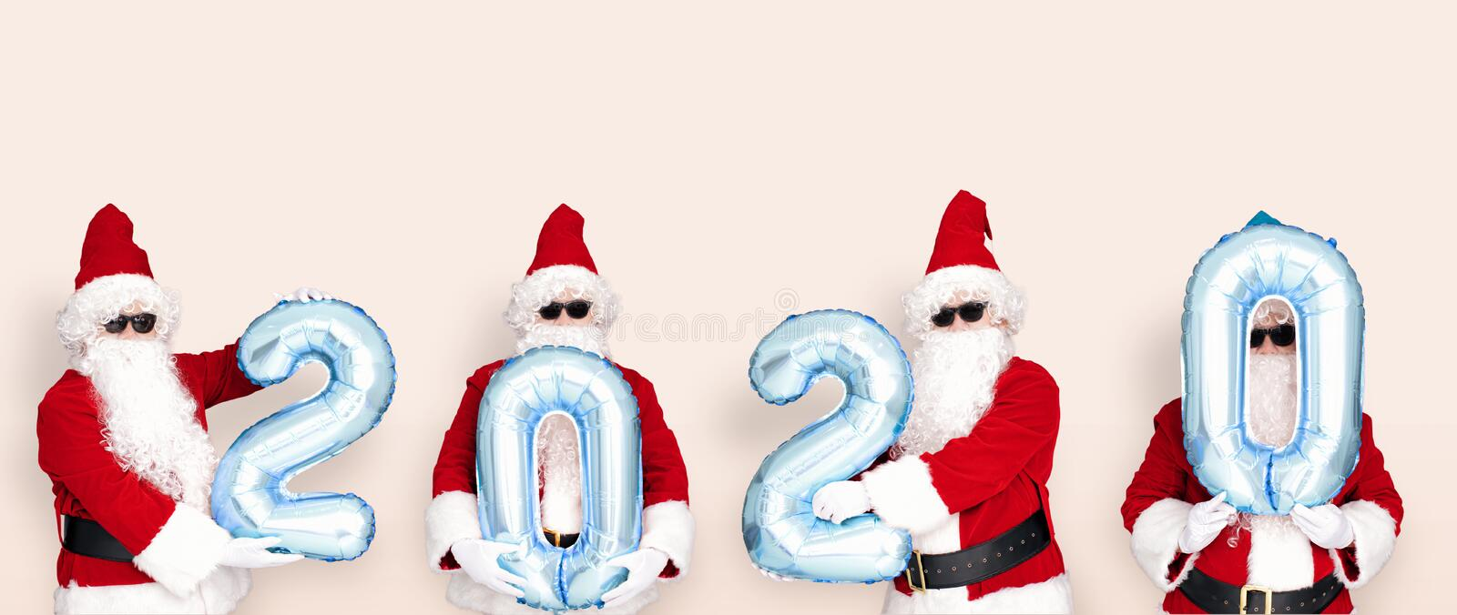 Merry Christmas and happy new year 2020  with cute Santa Claus.  stock images