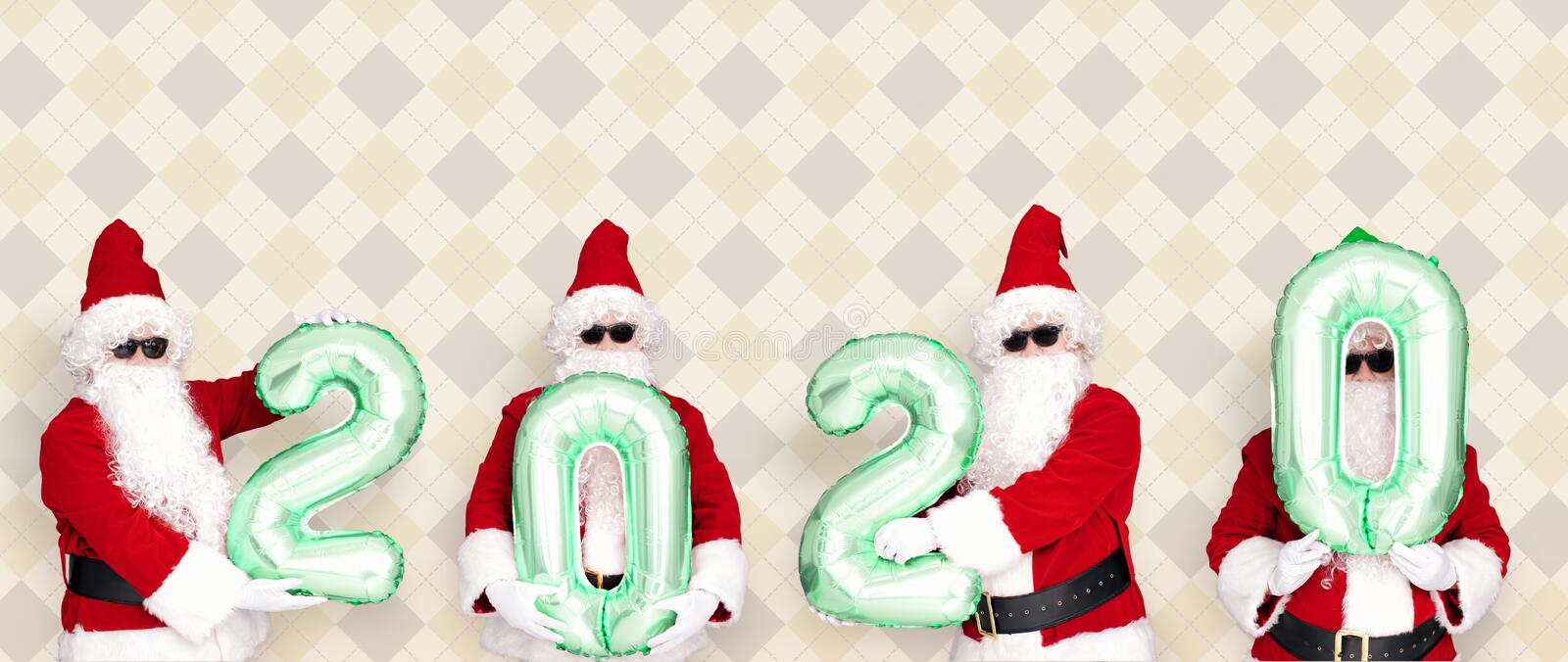 Merry Christmas and happy new year 2020  with cute Santa Claus.  stock image