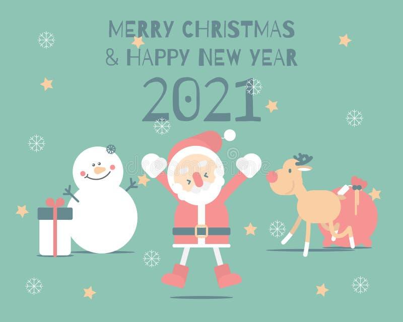 Merry Christmas And Happy New Year 2021 Santa Y Reindeer