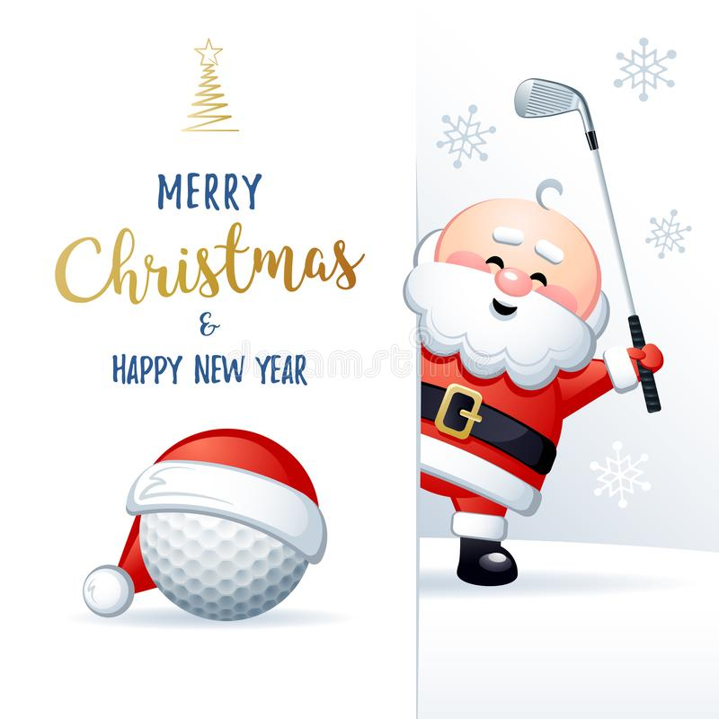 Merry Christmas and Happy New Year. Cute Sports greeting card. Golf. Merry Christmas and Happy New Year. Sports greeting card. Cute Santa Claus with Golf ball royalty free illustration