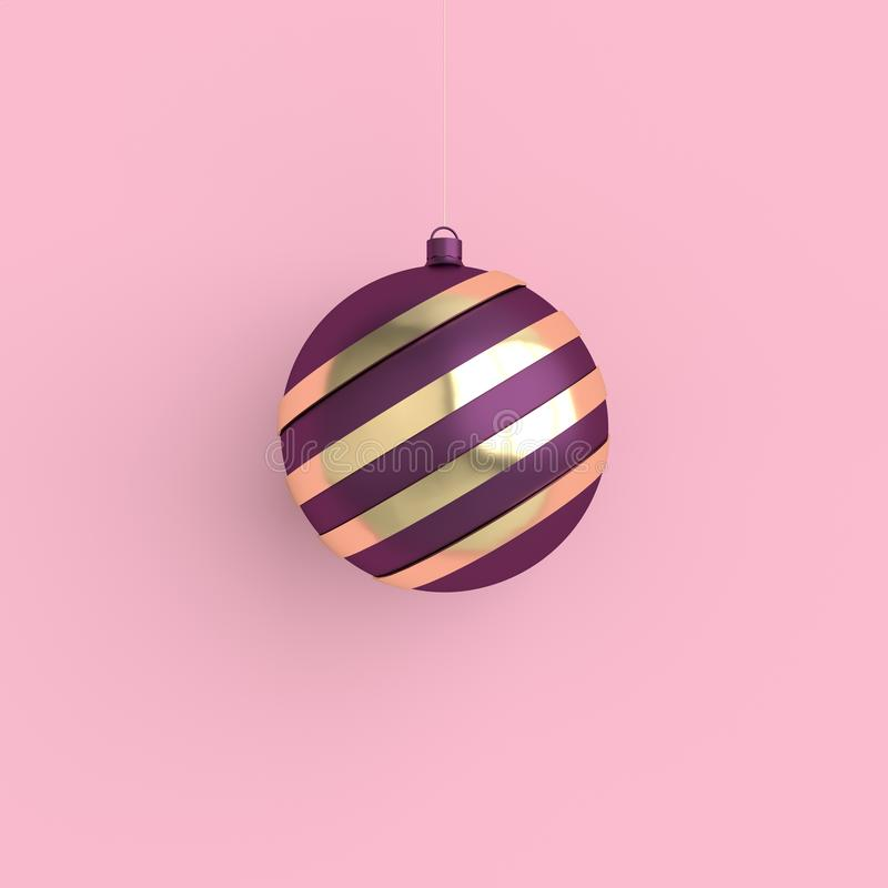 Merry Christmas and New Year 3d render illustration card with purple and gold xmas ball. Winter decoration, minimal design. Merry Christmas and Happy New Year 3d vector illustration