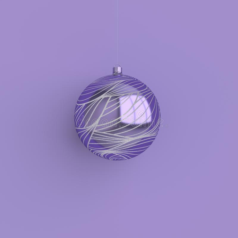 Merry Christmas and New Year 3d render illustration card with purple and silver xmas ball. Winter decoration, minimal design. Merry Christmas and Happy New Year stock illustration