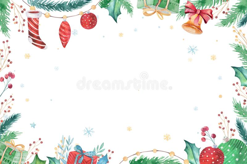 Merry Christmas and Happy New Year 2019 decoration winter set. Watercolor holiday background. Xmas element card royalty free illustration