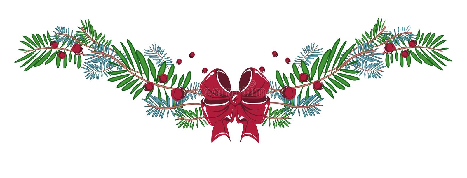 Merry Christmas and Happy new Year decorations with ribbon, bow, christmas tree branches. vector illustration