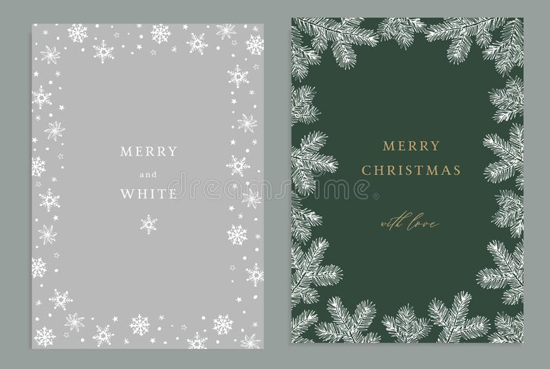 Merry Christmas, Happy New Year decorative vintage greeting cards, invitations. Holiday frames of hand drawn fir tree royalty free illustration