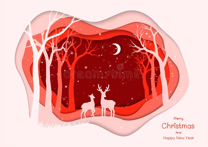 Merry Christmas and Happy new year with deer family on red winter night background,paper art style for invitation or greeting card. Vector illustration royalty free illustration