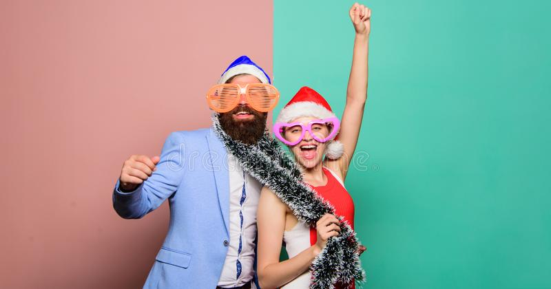 Merry christmas and happy new year. Family celebrating xmas. New year party. happy couple in santa claus hat. christmas. Shopping. gifts. Christmas fun. Little stock image