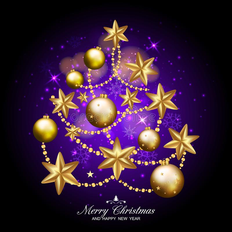 Merry christmas and happy new year fancy xmas tree on dark purple background. Ideal for greeting card or elegant holiday party in stock illustration