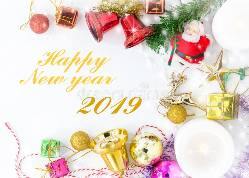 Merry Christmas and Happy New year with festive decoration and text - Happy New year ,Copy space,top view. Closeup stock photos
