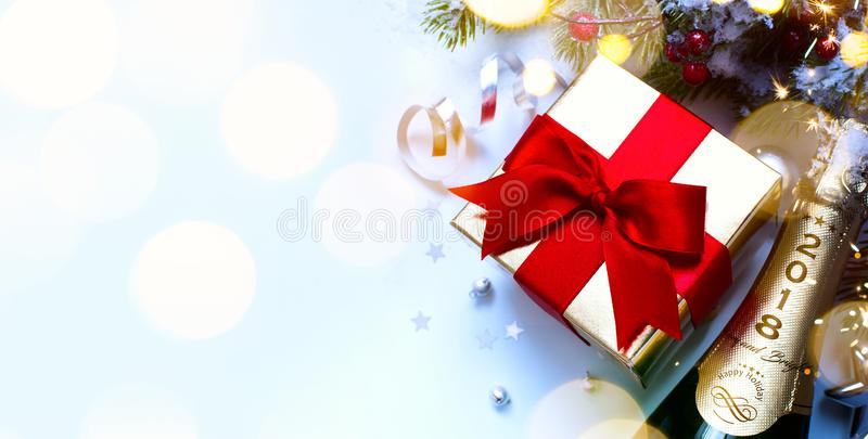 2018; Merry Christmas and happy New year; festive party background stock image