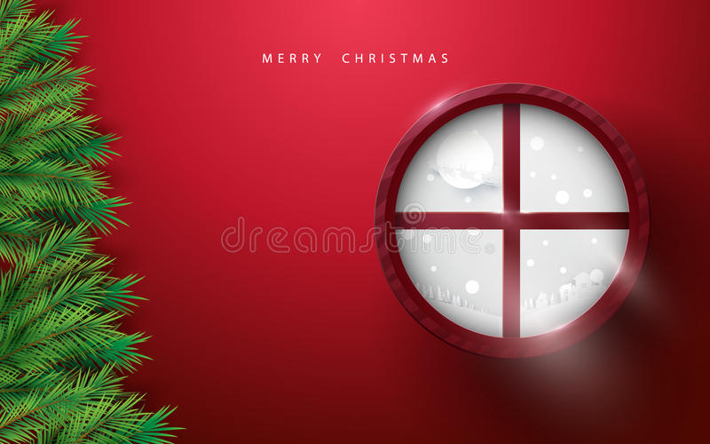 Merry Christmas and Happy new year. fir branches tree and winter landscape in circle window on red background stock illustration