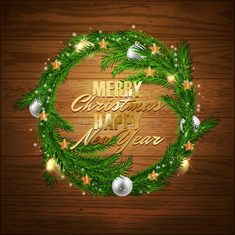Merry Christmas Happy New Year fir tree wreath with decorative balls, vector illustration. Design royalty free illustration