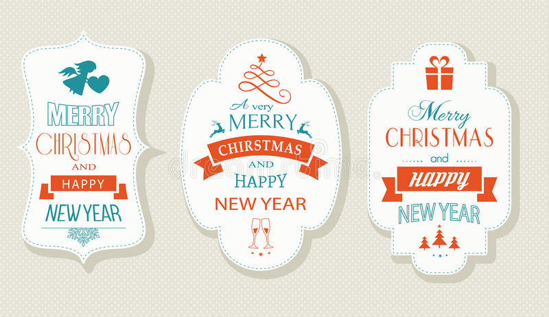 Merry Christmas and Happy New Year, Flat label set vector illustration