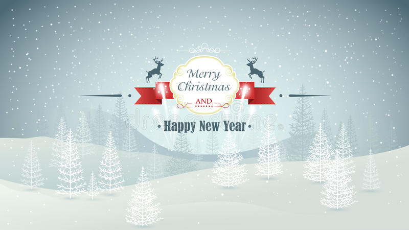 Merry Christmas and Happy New Year forest winter landscape with snowfall and fireworks vector stock illustration